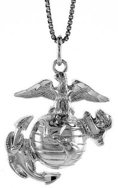 "Made USA,18/"" Box Chain Sterling Silver Marines Eagle,Globe,Anchor Pendant//Charm"