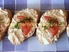 Pomazánka z tresčích jater Baked Potato, Potato Salad, Sushi, Pesto, Seafood, Food And Drink, Appetizers, Snacks, Cooking