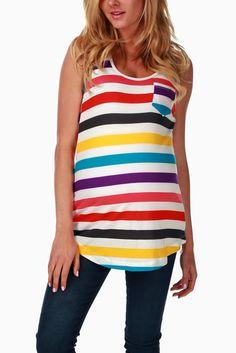 Purple-Multi-Colored-Striped-Maternity-Tank-Top