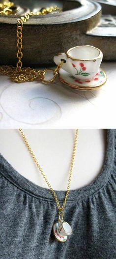 Tiny Porcelain Tea Cup Necklace   Vintage tea cups