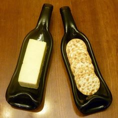 Upcycled wine bottle serving tray --- I need to figure out how to make these, without a kiln