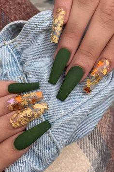 Green Nail Designs, Cute Acrylic Nail Designs, Fall Nail Designs, Halloween Nail Designs, Cute Halloween Nails, Simple Acrylic Nail Ideas, Sparkle Nail Designs, Fall Acrylic Nails, Square Acrylic Nails