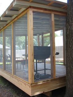 Pergola Connected To House Info: 5804700544 Screened In Porch Diy, Shed With Porch, Screened Porch Designs, Screened In Deck, Screen House, House Deck, Backyard Gazebo, Backyard Retreat, Backyard Studio
