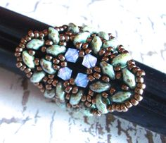 Green Gray Picasso Super Duo Two Hole Twin Seed Beads  by PaHaRa, $28.00