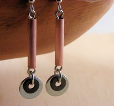 Copper Dangle Earring Hardware Jewelry Long by additionsstyle, $14.00