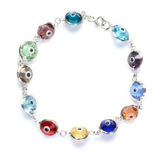 Solid Sterling Silver Crystal Evil Eye Bracelets ($12) ❤ liked on Polyvore featuring jewelry, bracelets, jewelry & watches, evil eye bangle, tri color jewelry, sterling silver evil eye jewelry, crystal jewelry and crystal jewellery