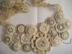 Vintage buttons, lace, and felt and fabric necklace