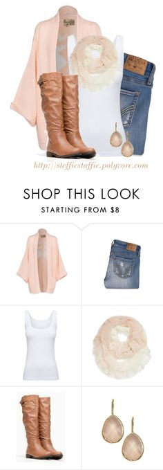 """Peach Wildfox Deer Cardigan"" by steffiestaffie ❤ liked on Polyvore featuring Wildfox, Hollister Co., Boody and Accessory Collective"