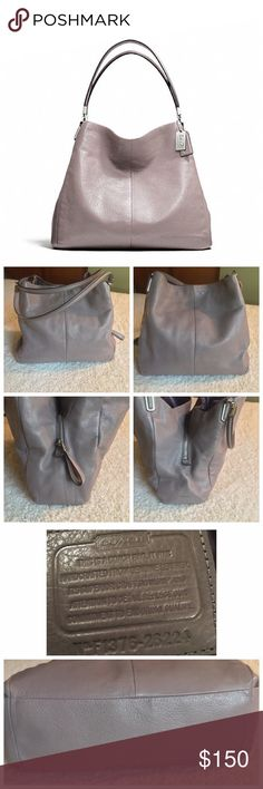"Coach Madison Small Phoebe Pre loved bag and shows some signs of wear ( last photo) but otherwise in great condition. Color is a lavender grey (quartz) and is roomy with three separate compartments. Dimensions are 13""l x 11.5""h x 4""w.  No dustbag and 🚫No Trades. Any questions please ask and I negotiate through the offer button, thanks Coach Bags Shoulder Bags"