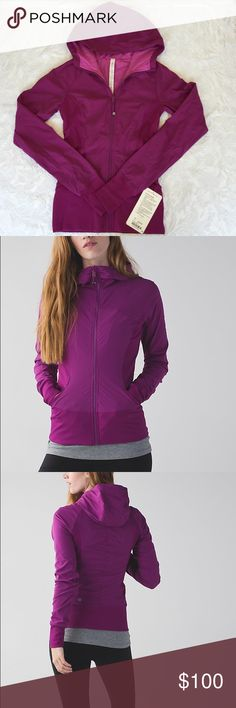 Lululemon In Flux Jacket - NWT Brand new lululemon In Flux Jacket woven for strength and no-bulk performance. Sweat-wicking and water repellant. Ribbed side panels let you twist and turn. Thumbholes keep sleeves in check. Tight fit, hip length. lululemon athletica Jackets & Coats