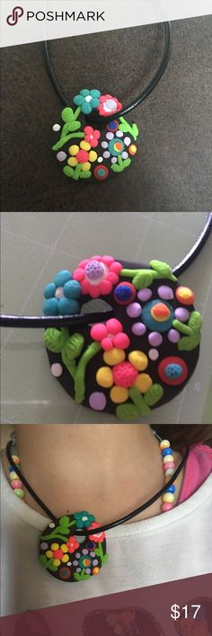💐Flower Pendant💐 Handmade polymeric clay pendant brown base with colorful flowers. Just the pendant for sale, leather necklace NOT included. Handmade Jewelry Necklaces