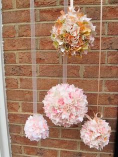 Shabby chic Baby  shower silk pompoms  set of 5 by KIMONOCARDS, $85.00