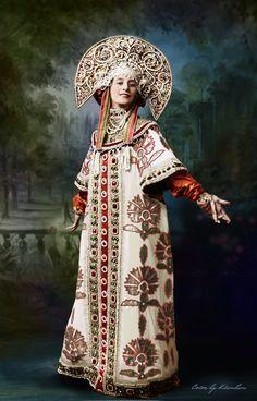 Lana Turner Ballerina Anna Pavlova in her Russian stage costume, 1910 & digital colourisation of the old photograph. Anna Pavlova, Ballerina Costume, Ballet Costumes, Russian Folk, Russian Art, Russian Style, Russian Beauty, Russian Fashion, Costume Original