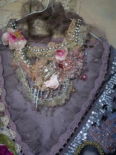 RESERVED --- Crystal garden-- shabby chic hand embroidered lace and cotton necklace with beadwork