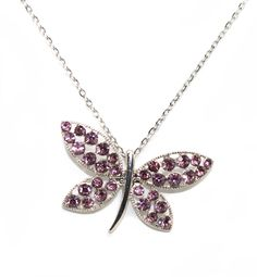 Joji Boutique - pink crystal butterfly/dragonfly necklace, $14.00 (http://www.jojiboutique.com/products/pink-crystal-butterfly-dragonfly-necklace.html)