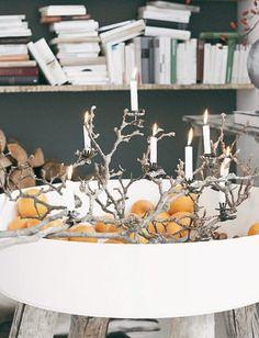 Dekozweig mit Kerzen:  Schneidet einen Zweig - hier von einer knorrigen Magnolie - so, dass er sicher liegen kann. Clips mit Kerzen anbringen und sich freuen.