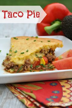 The Best Taco Pie: like a Mexican version of chicken pot pie, the meat, seasoning, veggies, and cheese are topped with an easy cornbread crust.  Delicious!