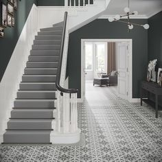 Crafted Cement Heritage Pattern W&F Victorian Hallway Tiles, Edwardian Hallway, Edwardian Haus, Tiled Hallway, Edwardian Staircase, Grey Hallway, Hallway Mirror, Entrance Hall Decor, House Entrance