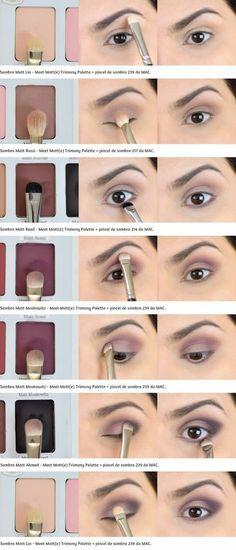 Tutorial: Roxinho mit einer Palette Meet Matt (e) Trimony - Make up - Makeup Meet Matte, Eye Makeup Steps, Makeup Tips, Makeup Ideas, Makeup Tutorials, Skin Makeup, Makeup Brushes, Mac Makeup, Eyebrow Makeup