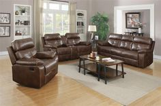 Damiano Brown Faux Leather Living Room Set