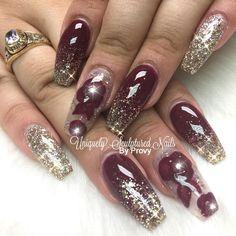"""63 Likes, 1 Comments - Provy @ (@uniquely_sculptured_nails) on Instagram: """"#jaxnails #nails #nailsofinstagram #nailsonfleek #ombrenails #burgundynails #fallnails #duvalnails…"""""""
