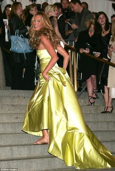 'Flashback to Met gala 2005': Elle Macpherson made headlines eleven years ago when she teamed a lime green dress from Calvin Klein with flip-flops for the Met Gala  ahead of the annual New York event on Sunday