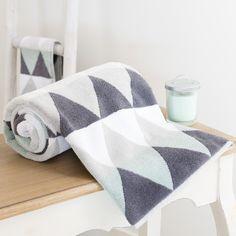 Maisons du Monde - Katoenen handdoek, wit/grijs, 30 x 50 cm, TRIANGLE