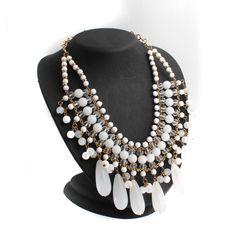 """Goldtone Round & Teardrop Beads 18"""" Bib Necklace #jewelryauctionhouse #Bib"""