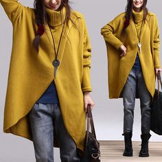 Irregular Hem Cotton Sweater Knitwear Knitted Tops by deboy2000, $83.99