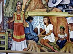 mural with portrait of Frida Kahlo painting Diego Rivera