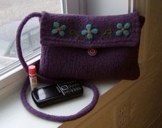 Felted Purse Messenger Bag / Kindle Case Forget Me by shanineal, $85.00