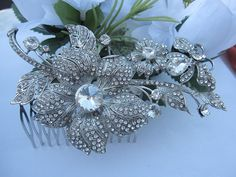 Bridal hair combhair piece Wedding Flower Hair by linabridal, $39.00