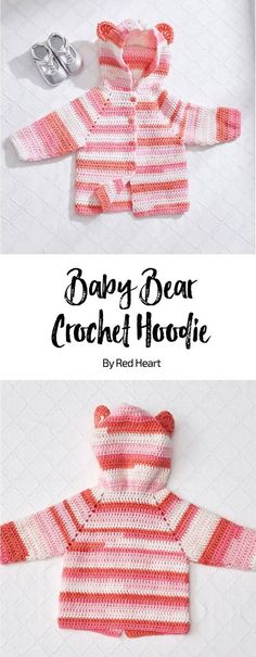 Baby Bear Crochet Hoodie free crochet pattern in Bunches of Hugs yarn. Crochet a cozy hoodie and baby's mama will have the perfect extra layer to keep her little cub comfy. It takes just one big ball of Bunches of Hugs to create this adorable cardigan sweater with teddy bear ears .#CrochetBaby #crochetforbaby #BabyYarn
