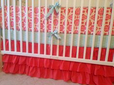 Crib Bedding Set Coral Damask and Mint Green Made to Order on Etsy, $420.00