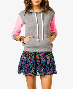 Contrast Sleeve Hoodie from Forever 21; grey with hot pink sleeves    Another thing I NEED!