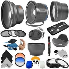 Essential Lens and Filter Kit for 58MM CANON REBEL and EOS Series Cameras including T3i T2i T1i XT XTi XSi 60D 7D - Includes: Professional .40x Super Wide Fisheye Lens + 0.43x Wide Angle Lens + 2.2x Telephoto Lens + Wireless Remote Control + Macro Close-Up Set + Hard Tulip Lens Hood + Collapsible Lens Hood + Center Pinch Lens Cap + Filter Kit (UV, CPL, ND8) + 2 Color Filters + Flash Diffuser Set + Lens Cleaning Pen + Deluxe Cleaning Kit + 3 MagicFiber Microfiber Cleaning Cloths and Keychain