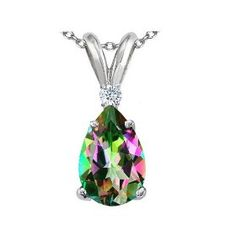 2.02 cttw Tommaso Design(tm) Genuine Pear Shaped 9 x7 mm Mystic Rainbow Topaz and Diamond Pendant indant in 14 kt White Gold.  List Price: $389.99  Sale Price: $199.99  Savings: 190.00