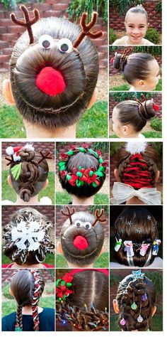 Now this is getting silly…fun and creative holiday hair – great for kids! Now this is getting silly…fun and creative holiday hair – great for kids! Cute Hairstyles For Kids, Kids Braided Hairstyles, Christmas Hairstyles, Little Girl Hairstyles, Bun Hairstyles, Teenage Hairstyles, Crazy Hair For Kids, Crazy Hair Day At School, Crazy Hair Days