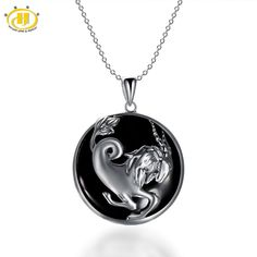 Cheap jewelry necklace pendants, Buy Quality jewelry pendant directly from China jewelry jewelry Suppliers: Hutang Capricorn Zodiac Natural Black Jade Pendant Solid 925 Sterling Silver Necklace free chain Women's Men's Jewelry China Jewelry, Men's Jewelry, Pendant Jewelry, Jewelry Gifts, Pendant Necklace, Jade Pendant, Argent Sterling, Sterling Silver Necklaces, Chain