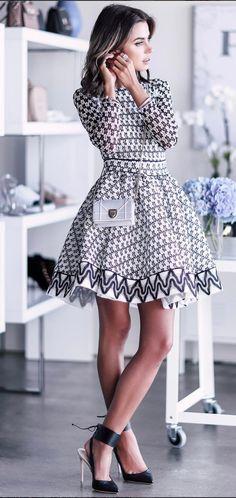 Flared belted dress