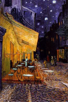 Vincent Van Gogh, The Café Terrace on the Place du Forum, Arles, at Night, c.1888. Pat and I stopped at a sidewalk cafe for some refreshment. We wondered why so many tourists were stopping to take photos of the scene in which we sat. Then we saw the poster - this was the very cafe terrace!