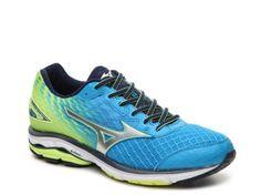 Men's Mizuno Wave Rider 19 Lightweight Running Shoe -  - Blue/Silver/Green