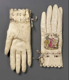 Your pretty self deserves pretty gloves. A touch of magic. Spain - Pair of women's gloves - Printed and painted kid, silk ribbon; Vintage Accessories, Fashion Accessories, Vintage Outfits, Vintage Fashion, Vintage Beauty, Vintage Dresses, Wedding Gloves, Vintage Gloves, Mitten Gloves