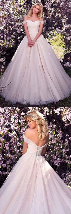 Tulle Off-the-shoulder Neckline A-line Wedding Dress With Beading WD215 #weddings #weddingdress