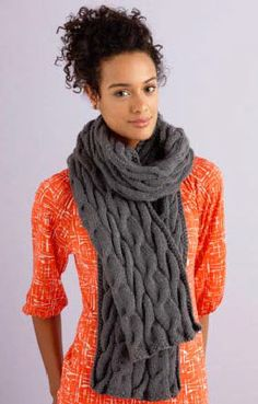 Lion Brand® Vanna's Choice® Grey Cabled Scarf #knit #pattern