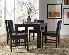 Athena Transitional Dark Chocolate Rubberwood MDF 5pc Dining Room Set