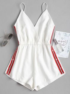SHARE & Get it FREE | Snap Button Stripes Panel Romper - White SFor Fashion Lovers only:80,000+ Items • New Arrivals Daily Join Zaful: Get YOUR $50 NOW!