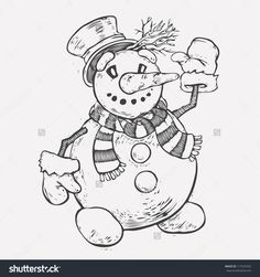 Christmas Snow Man. Monochrome Hand Drawn. Vector Object Isolated. - 117525535 : Shutterstock