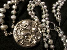 Handmade Double Strand Silver Pearls by DecoArtworkJewelry on Etsy, $95.00 ~ GORGEOUS !