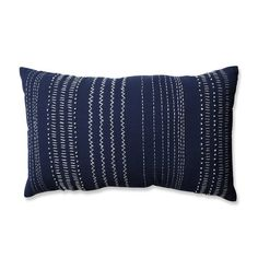 Give your decor a hand crafted feel with this rectangular throw pillow decorated with French knots, chevrons, and dotted lines in creamy white on a navy blue colored background. Perfect in the corner